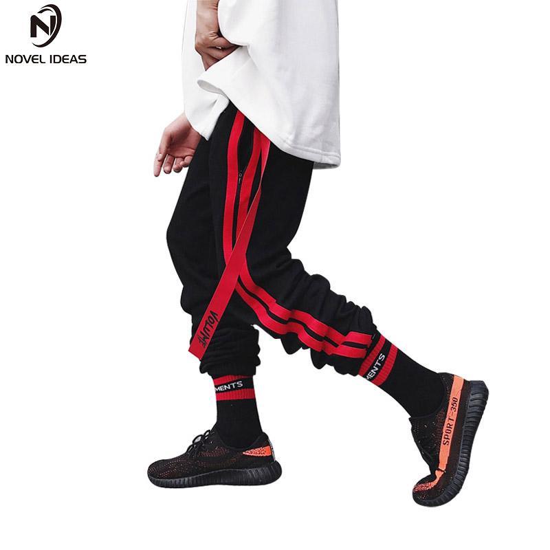 Acquista Pantaloni Della Banda Del Nastro Laterale 2018 Hip Hop Casual  Ricamo Coulisse Pantaloni Della Vita Streetwear Moda Jogger Pantaloni  Sportivi Taglia ... 935499f9f6f