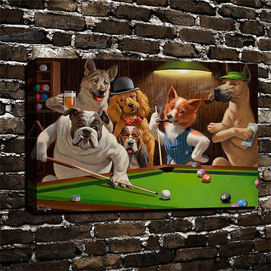Compre Perros Jugando Al Billar De La Piscina Decoracion Casera Hd