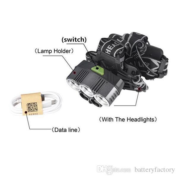 Super 25000LM 5 X XML T6 LED wiederaufladbare USB Scheinwerfer Scheinwerfer Scheinwerfer Taschenlampe + 2x 18650 Akku + USB Ladegerät