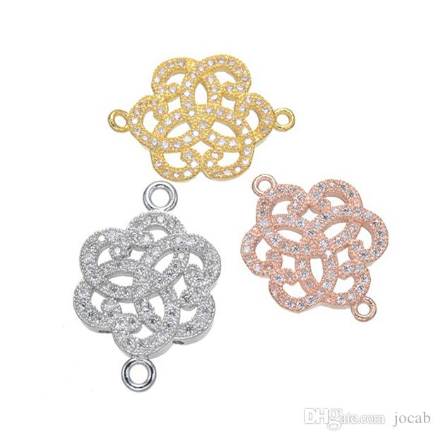Handmade Jewelry DIY Connectors Charms Accessories To Make Earrings Bracelets Necklaces Fittings Copper CZ Rhinestone Pendants Wholesale