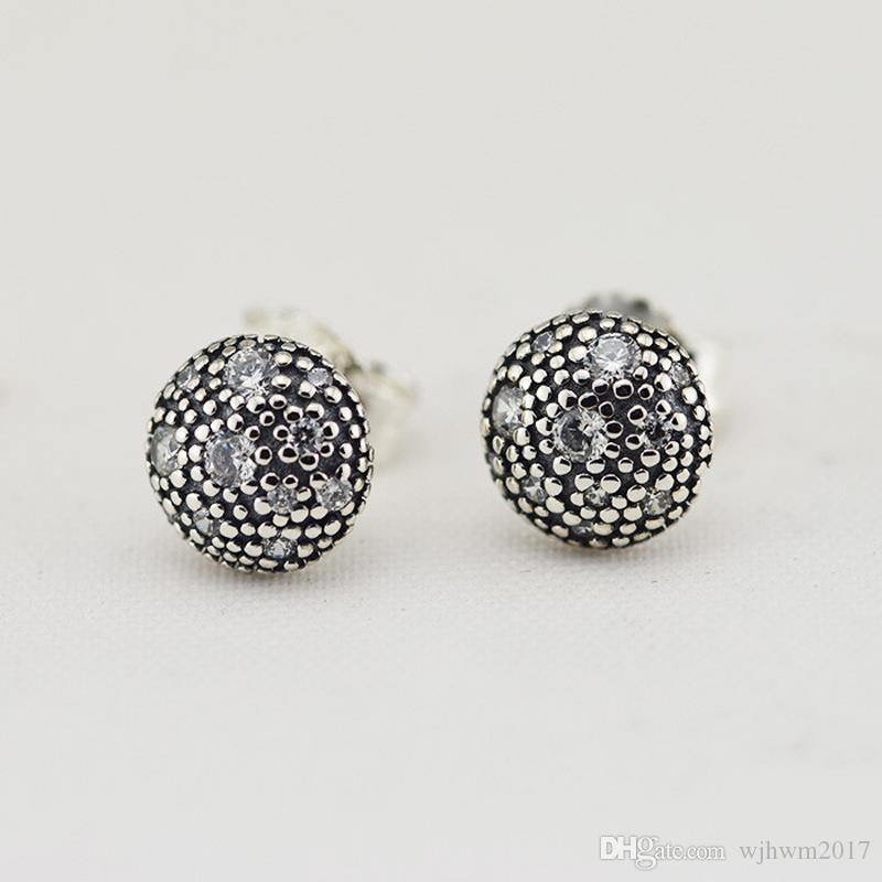 2018 New 100% 925 Sterling Silver Cosmic Stars avec le cristal clair Stud pour les femmes fille cadeau de mariage Fine Jewelry