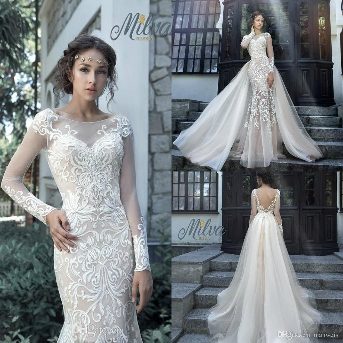 a16aba72e3af Milva Bridal Wedding Dresses With Detachable Train 2018 Sexy Sheer Long  Sleeves Low Back Lace Mermaid Bridal Gowns Maternity Wedding Dresses  Mermaid Dresses ...