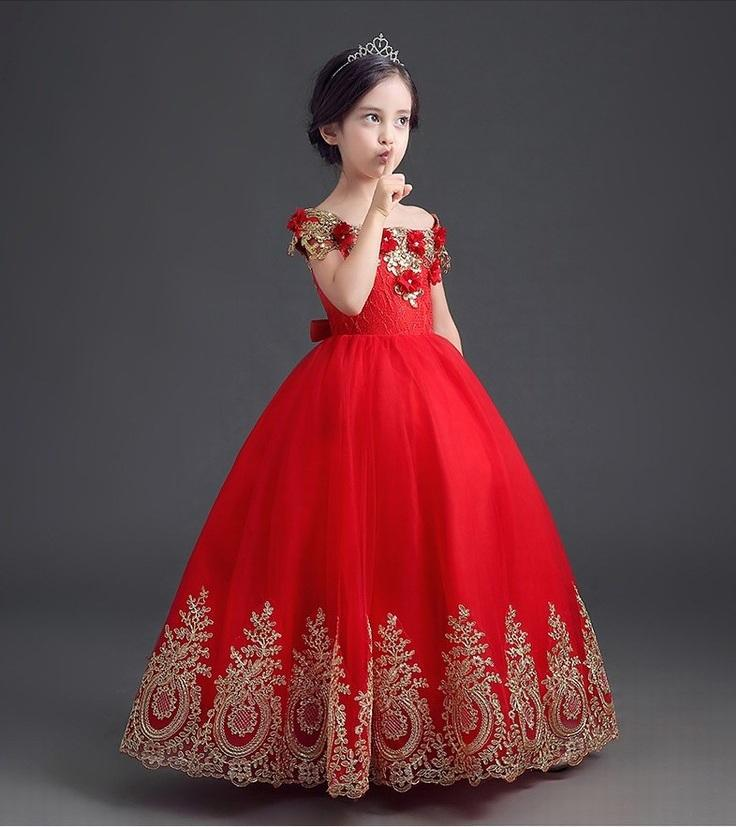 9aefa9bafb7 Charming Golden Lace Red Flower Girl Dresses Ball Gown Kids Pincess Pageant  Children Dress Special Occasion Dress GHYTZ104 Fuschia Flower Girl Dresses  Girls ...