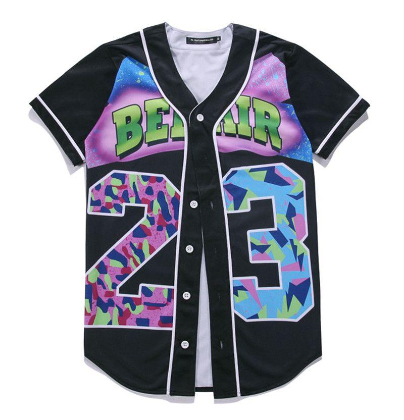 Großverkauf-freies Verschiffen-Mens Streetwear-T-Stück-Hemd-Hip Hop 3D Digital-Druck-neues Prinzen-Blumen-kundenspezifisches Baseball Jersey