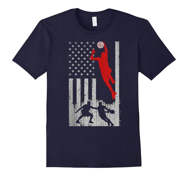 3a21a76f839 Basketball T-shirts Basketball US Flag Tshirt Men s T-shirt Cotton T ...