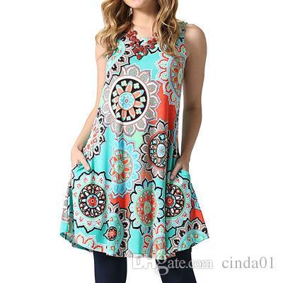 76002297f0055 Satın Al Şık Kadınlar Elbise Yeni Çiçek Baskılı Kadınlar Yaz Kolsuz Elbise  Seksi Ekip Boyun Elbise 10 Renk S 2XL, $22.93   DHgate.Com'da
