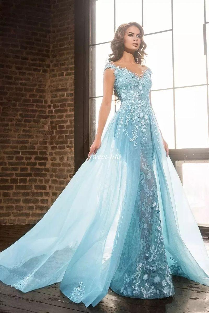 Hellblau Elie Saab Überröcke Prom Kleider Arabisch Meerjungfrau Sheer Jewel Lace Applique Perlen Tüll Formale Abend Party Kleider WY139
