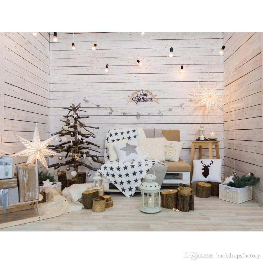 2018 Wooden Walls Merry Christmas Backdrop For Photography Sparkling ...
