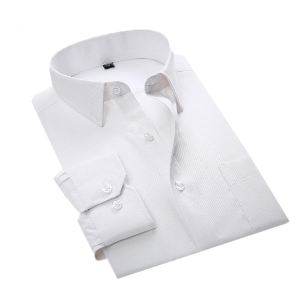 YJSFG HAUS Marke Männer Shirts Komfortable Langarm Smart Casual Shirts Schlank Solide Baumwolle Weißes Kleid Slim Fit Business