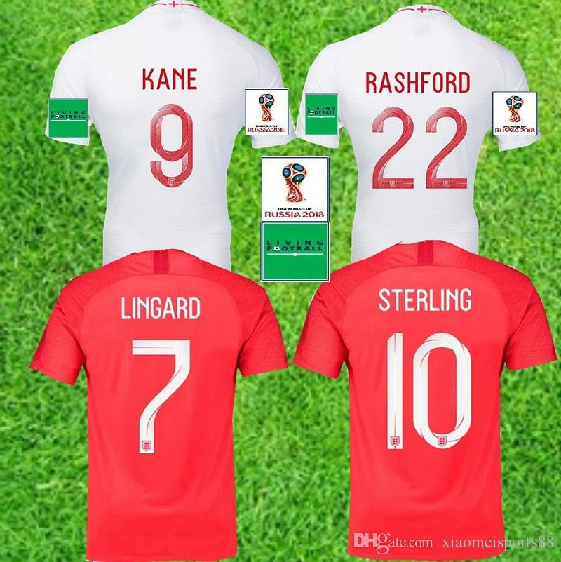 7f6b67f824d 2019 Top Quality 2018 England World Cup Soccer Jersey Kit 9  KANE  10 STERLING 11 VARDY 19  RASHFORD 20 DELE Football Shirts From  Xiaomeisports88