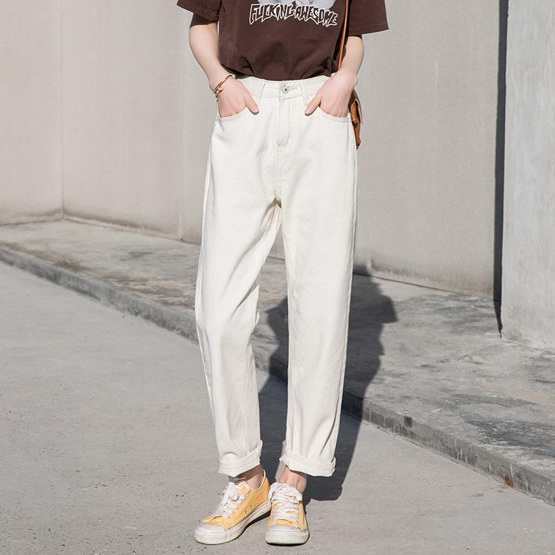 db06f164cfe 2019 Fall White Mom Jeans Vintage High Waisted Wide Leg Jeans Women Cropped  Baggy Straight Leg Chic Casual Denim Pants From Ingridea