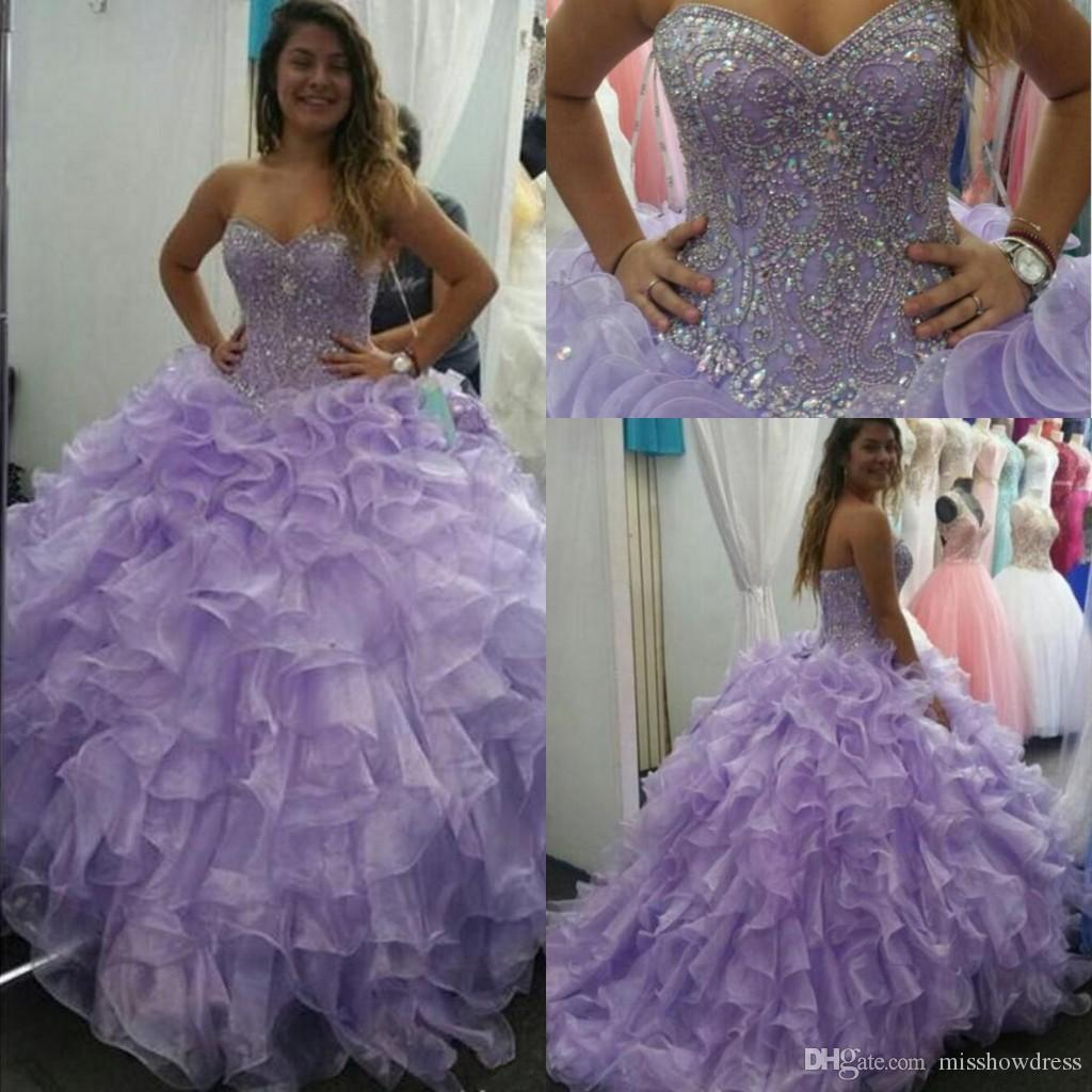 037f9c299d Lavender Organza Ball Gown Quinceanera Dresses Sweetheart Beaded Stones Top  Layered Ruffles Floor Length Prom Party Princess Dresses Cheap White  Quinceanera ...