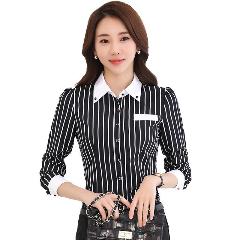 e2a7079168 Compre Camisa De Mujer En Blanco Y Negro Camisa De Rayas Verticales Mujer  De Manga Larga Con Cuello De Muñeca Camisa De Oficina En Mujer OL Delgada  Talla ...