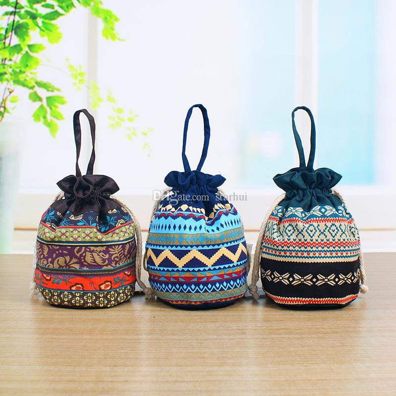 Fashion Large Party Gifts Bags With Handles Ladies Printed Purse Drawstring Packaging Pouch Storage Bag For Coin Key WX9-487