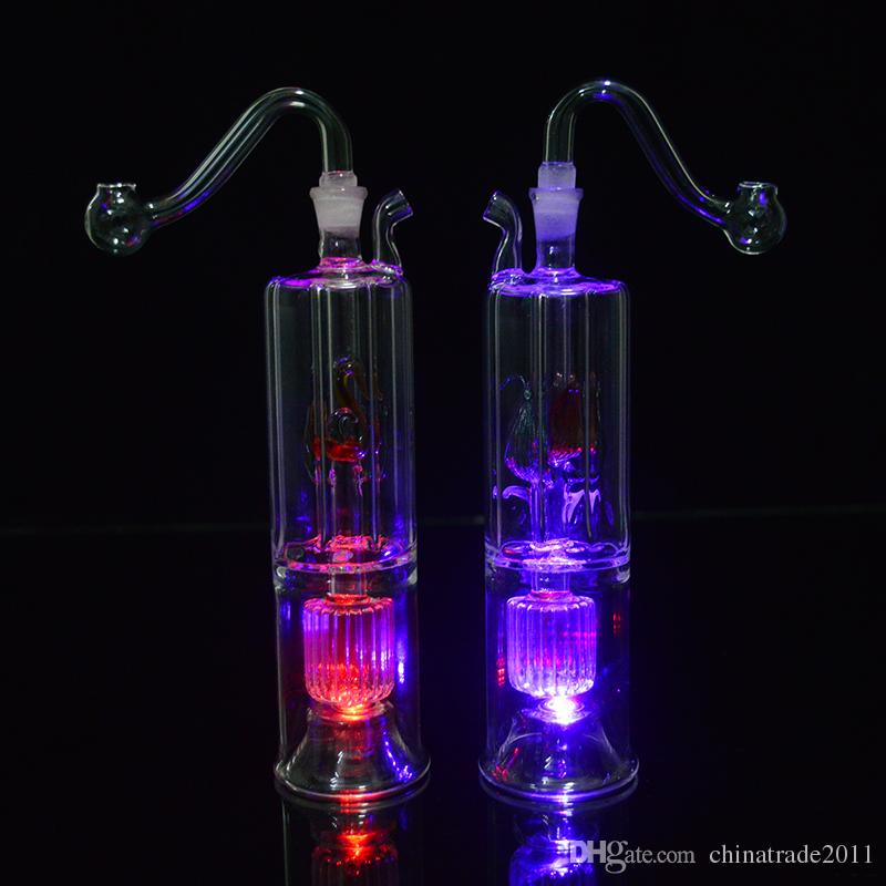 "LED Glass Water Pipes Bong 6.3"" inch Double Recycler Oil Dab Rigs Inline Stero Matrix Perc Bubbler Glass Hookahs Oil Concerntrate Pipe"