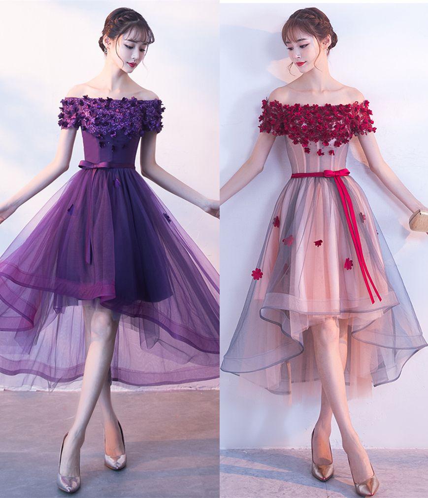e595e24070e1 Short Front Long Back Prom Dresses 3D Floral Appliques Lace Off Shoulder  Short Sleeve High Low 2018 Pageant Evening Wear Party Gowns Wanelo Prom  Dresses ...