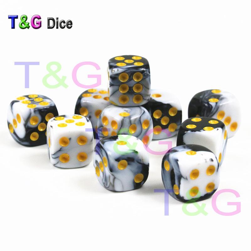 10 pçs / set de 12mm D6 Casino Cube, Dados com Ouro Padrão Dot Como Torre de Dados
