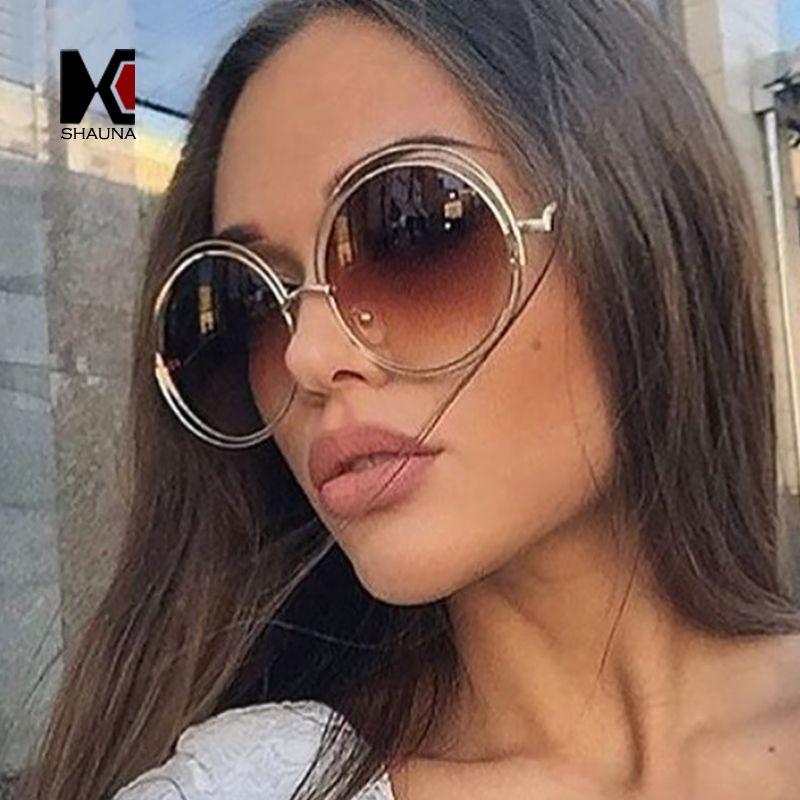 61ed8ccd72d Designer Fashion Sun Glasses for Women Vintage Oversize RoundAlloy ...