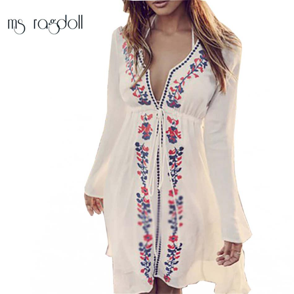 b62dbd5934 Satın Al Kadınlar Seksi Yeni Varış Plaj Cover Up Nakış Vintage Mayo  Bayanlar Tunikler Kaftan Plaj Elbise Plaj Kıyafeti Kadın Robe De ..., $14.2  | DHgate.