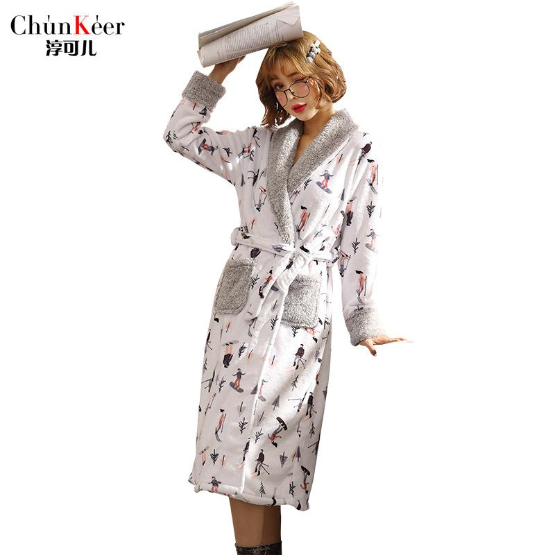 Ladies Long Bathrobe Women Flannel Robe Long Design Flannel Bathrobe Female  Robe Nightgown Coral Fleece Sleepwear UK 2019 From Tutucloth ef77b9d4f0