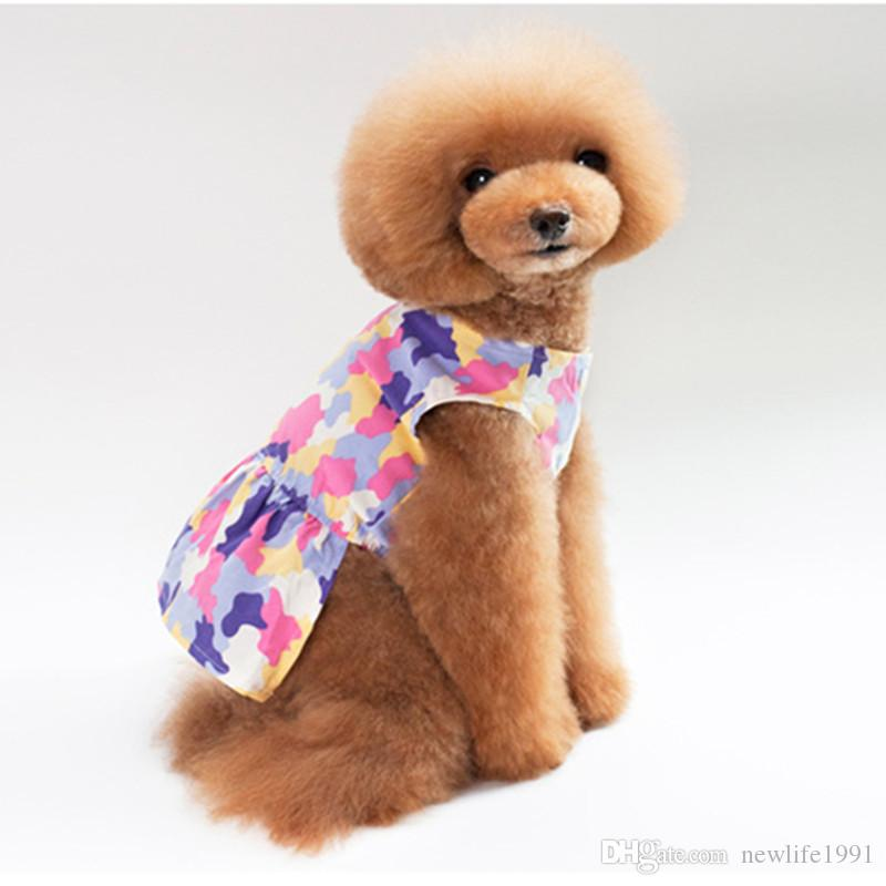 Pet Dogs Cute Princess Dress Puppy Fashion Camouflage Color Clothes 2018 Pets Lovely Button Dresses Dog Casual Clothing Free Ship