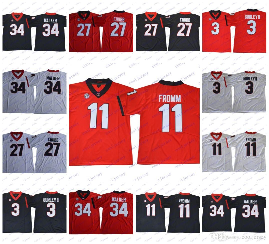 NCAA Georgia Bulldogs College Jerseys  11 Jake Fromm 27 Nick Chubb 7  D Andre Swift 3 Roquan Smith Black Red White Stitched Jake Fromm Georgia  Nick Chubb ... fc64c2389