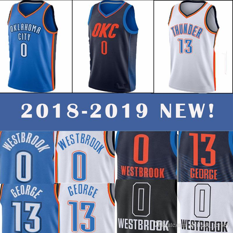 0f17f10a670 OKC jersey Thunder 0 Russell Westbrook 13 Paul George men s popular basketball  jersey 2018-2019 NEW top quality