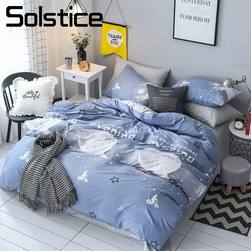 Solstice Home Textile Blue Gray Moon Duvet Cover