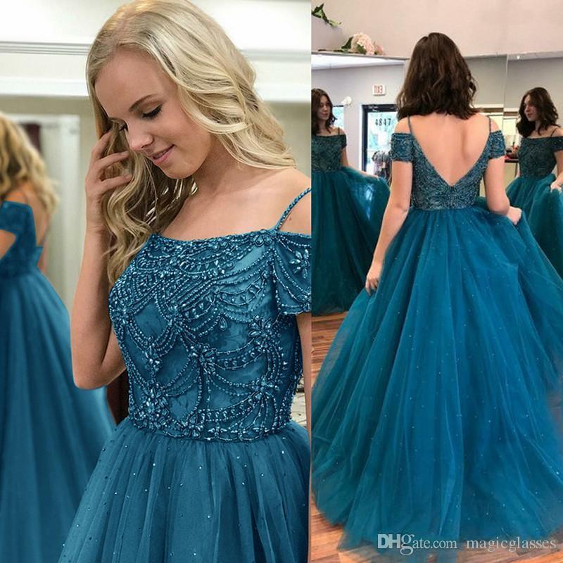 040e58b682e Großhandel Teal Blue Ballkleid Plus Size Prom Kleider 2018 Schulterfrei  Luxus Kristall Perlen Quinceanera Kleider Sweet 16 Formale Abendkleider Von  ...