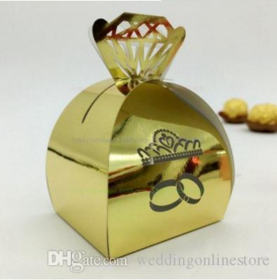 Wedding Crown Rings Wedding Party Candy Boxes Gift Box Hollow Diamond Favor Holder Boxes Chocolate Cake Bags