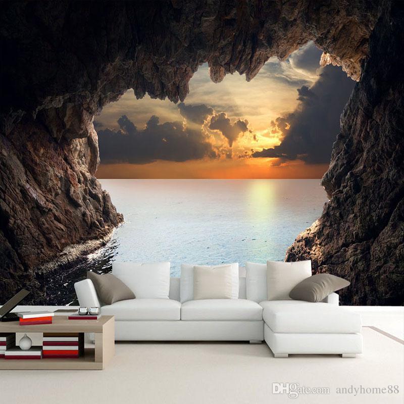 Benutzerdefinierte Fototapete 3D Stereoskopische Höhle Seascape Sunrise TV Hintergrund Moderne Wandbild Tapete Wohnzimmer Schlafzimmer Wandkunst