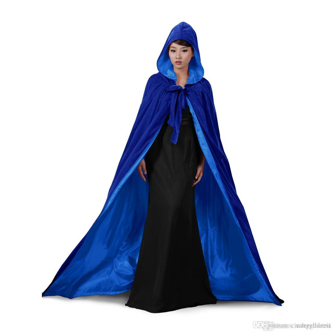 Blue And 10 Colour Lining Hooded Velvet Cloak Gothic Wicca Robe Medieval  Witchcraft Larp Cape Hooded Vampire Cape Halloween Party Cloak Cloaks Cape  Wedding ... f2f0aaebd768