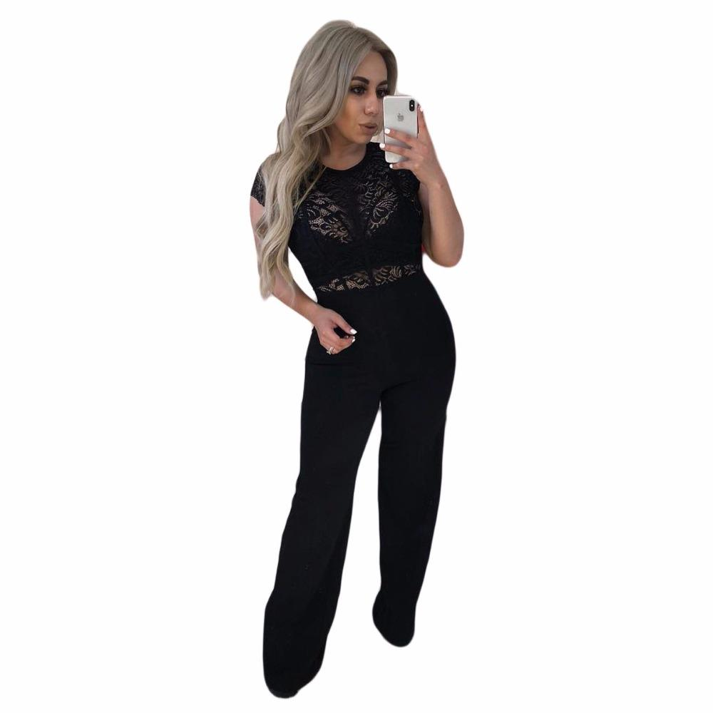 65a756c4fa2 2019 NEW Arrive Back Zipper Black Jumpsuit Summer See Through Lace Spliced  Sexy Party Overall Lady Long Wide Leg Straight Romper M774 From Humphray