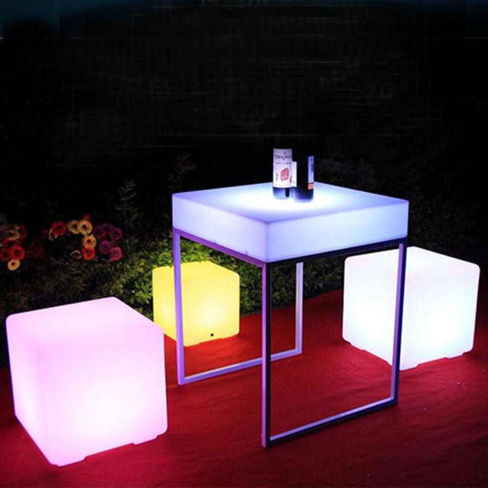 2018 led luminous cube outdoor luminous furniture creative bar stool