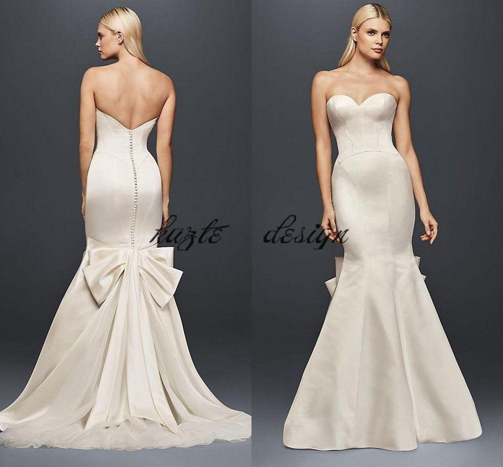Verdaderamente Zac Posen vestido de novia de satén con costura con gran lazo 2018 modesto sin tirantes botón cubierto sirena cola de pescado vestido de novia desgaste