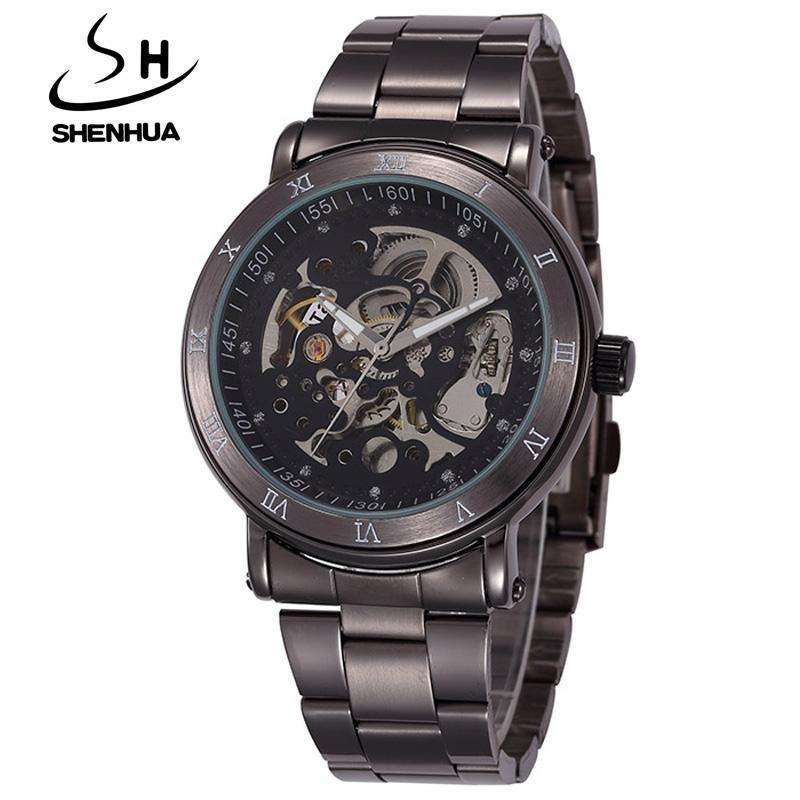 Watches New Fashion Skeleton Black Steel Men Male Clock Shenhua Brand Hollow Cool Stylish Design Classic Mechanical Wrist Dress Watch Men's Watches