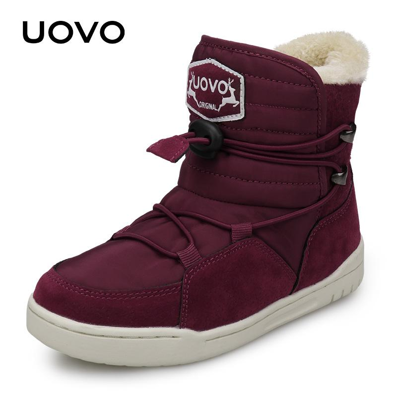 a76f49c76 Winter Kids Snow Boots 2018 UOVO New Arrival Fashion Children Warm Boots  Boys and Girls Shoes With Plush Lining #29-37