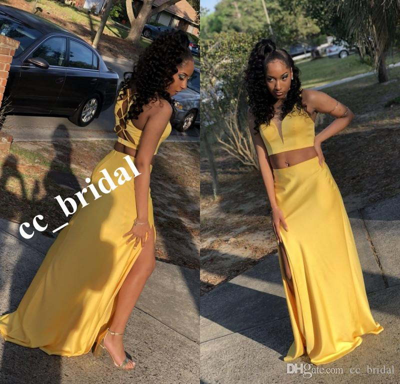 96e5087ff79f2 Sexy Two Piece Prom Dresses Long Bright Yellow Girls Party Gowns With High  Split 2 Pieces Homecoming Dress Mermaid Girls robe longue rouge