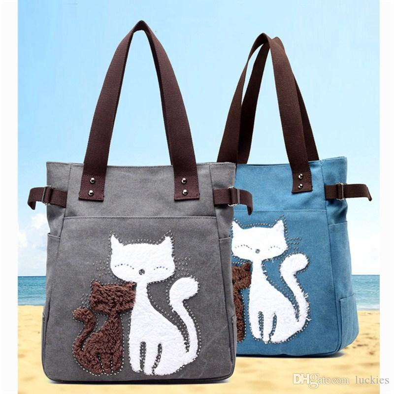 9bfdb7c868f8 Women Canvas Tote Ladies Casual Shoulder Bag Foldable Reusable Shopping Bags  Cute Cat Pattern Beach Bag Female Cotton Cloth Handbag Fashion Bags Designer  ...