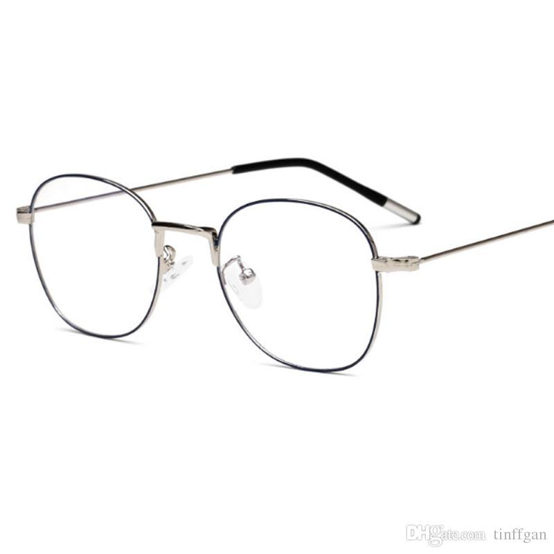 8c195867b7 2018 New Round Metal Eyeglasses Frames With Coating Lens Men Women Optical  Plain Mirror Lenses Eye Glasses Frame For Myopia Glasses Titanium Eyeglasses  ...