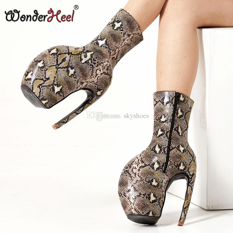 eda5bf58604 Wonderheel 7 Heel Platform High Heel Mid Calf Boots Strange Style Shiny   Matte Leather Sexy Women Fashion Shoes Big Size US13 Over Knee Boots Boots  For ...