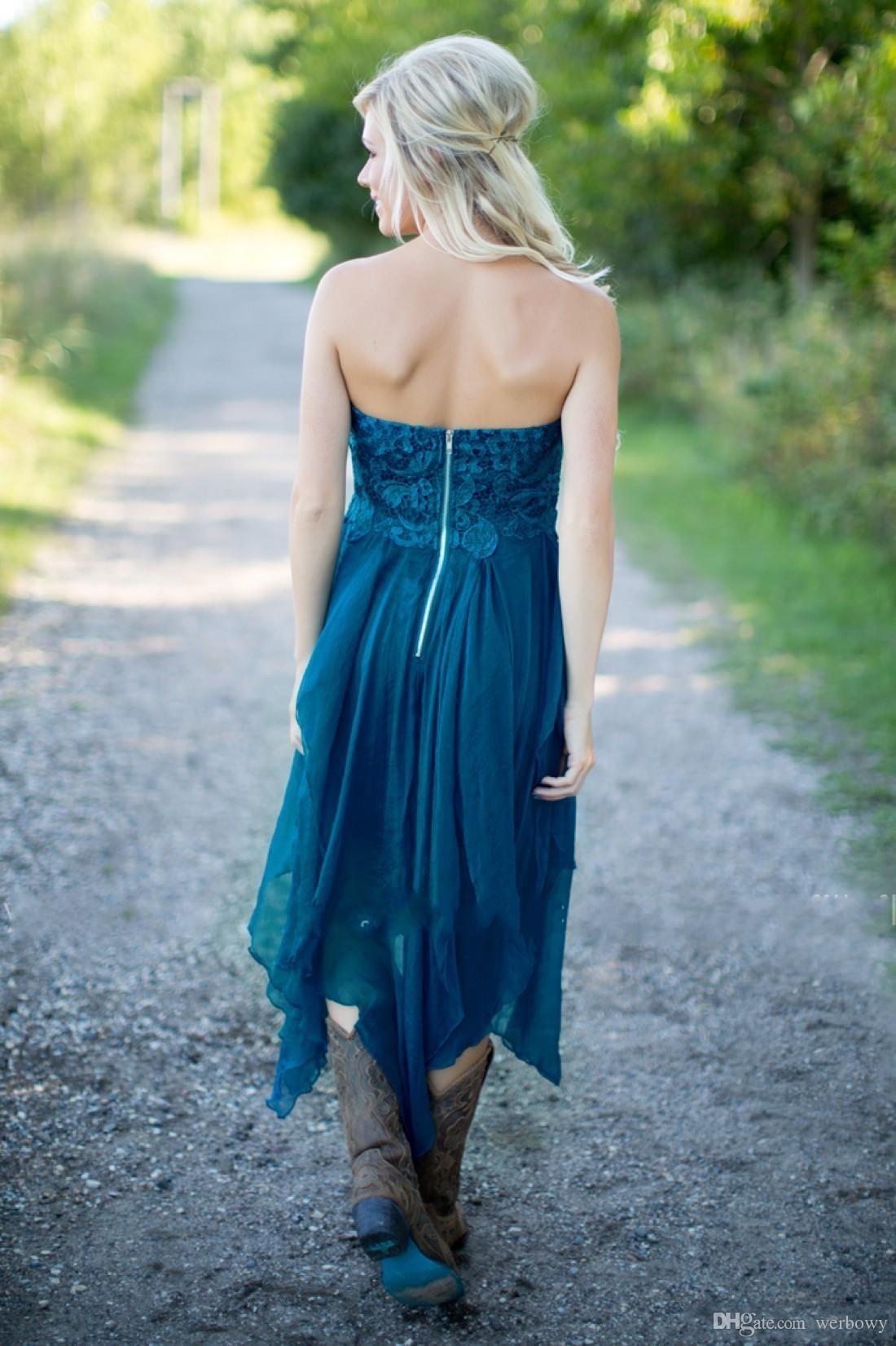 웨딩 청록색 쉬폰 비치 레이스 높은 낮은 낮은 서클 파티 메이드 명예 가운 HY253에서 짧은 섹시한 신부 들러리 드레스