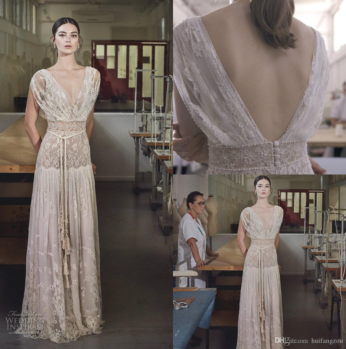ed38476989f Discount 2018 Collection Lihi Hod Boho Wedding Dresses Fashion Lace V Neck  Cap Sleeve Elegant 2017 Country Bohemian Beach Bridal Gowns Wedding  Collection ...