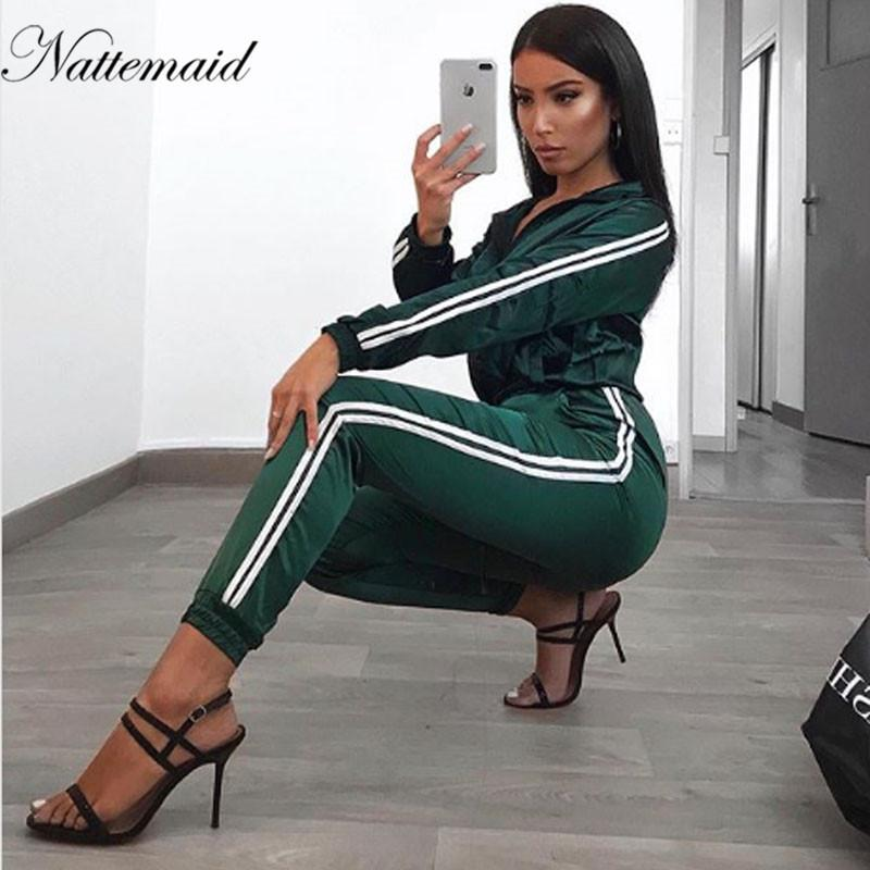 371afc5ee69 2019 NAEMAID Autumn Sexy Two Piece Set Jumpsuit Women Long Sleeve Winter  Bodycon Pantsuit Rompers Women Top And Pants Overalls From Piaose