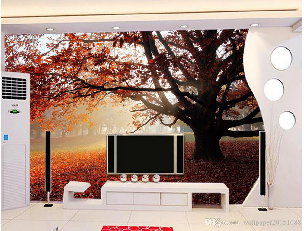 3D Wallpaper Custom Any Size Mural Wallpaper Forest Trees Tree Trail Landscape Background Wall Painting Home Decor Living Room Wall Covering