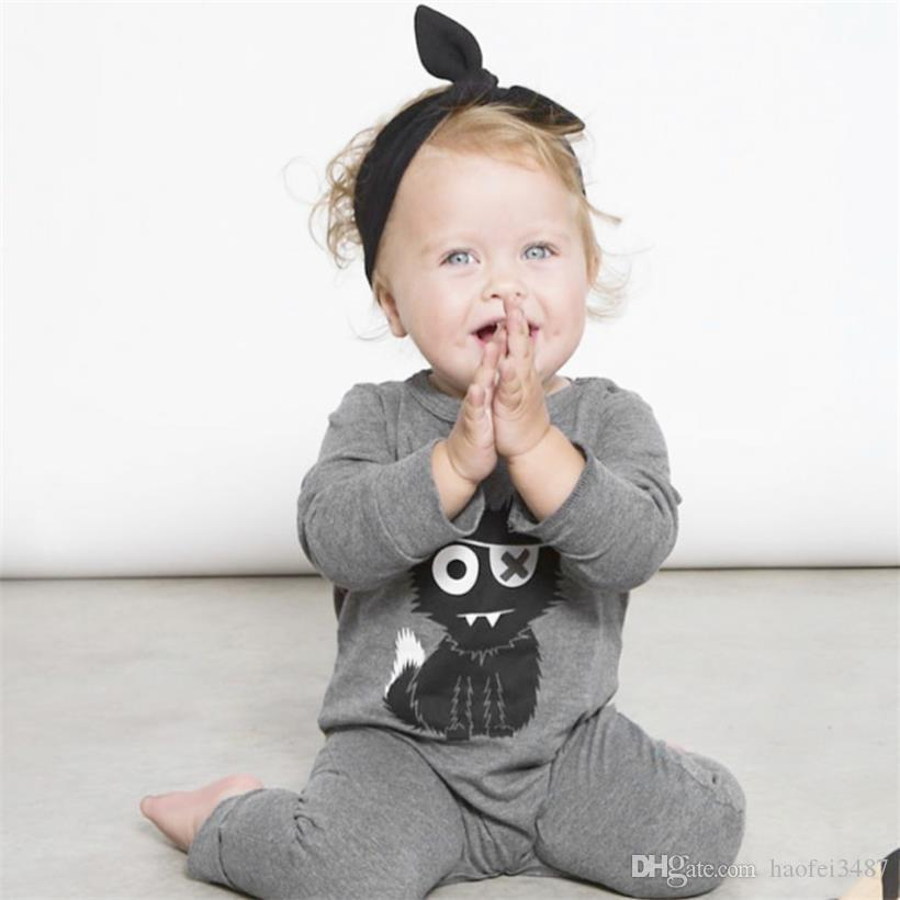 2018 New Children Pajamas Baby Rompers Newborn Baby Clothes Long Sleeve Underwear Cotton Costume Boys Girls Autumn Rompers