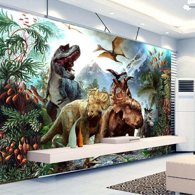 Custom 3d Poster Photo Wallpaper 3d Cartoon Dinosaur Non Woven Mural