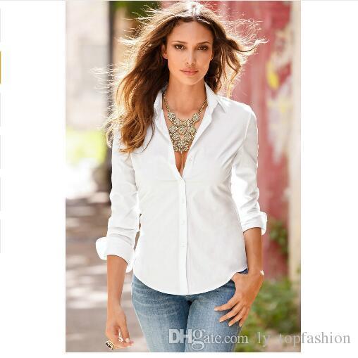 7110899b 2018 New Fashion Blouse Shirt Women Work Wear Long Sleeve Tops Slim Women's  Blouses Shirts Casual Blusas Femininas S-XL
