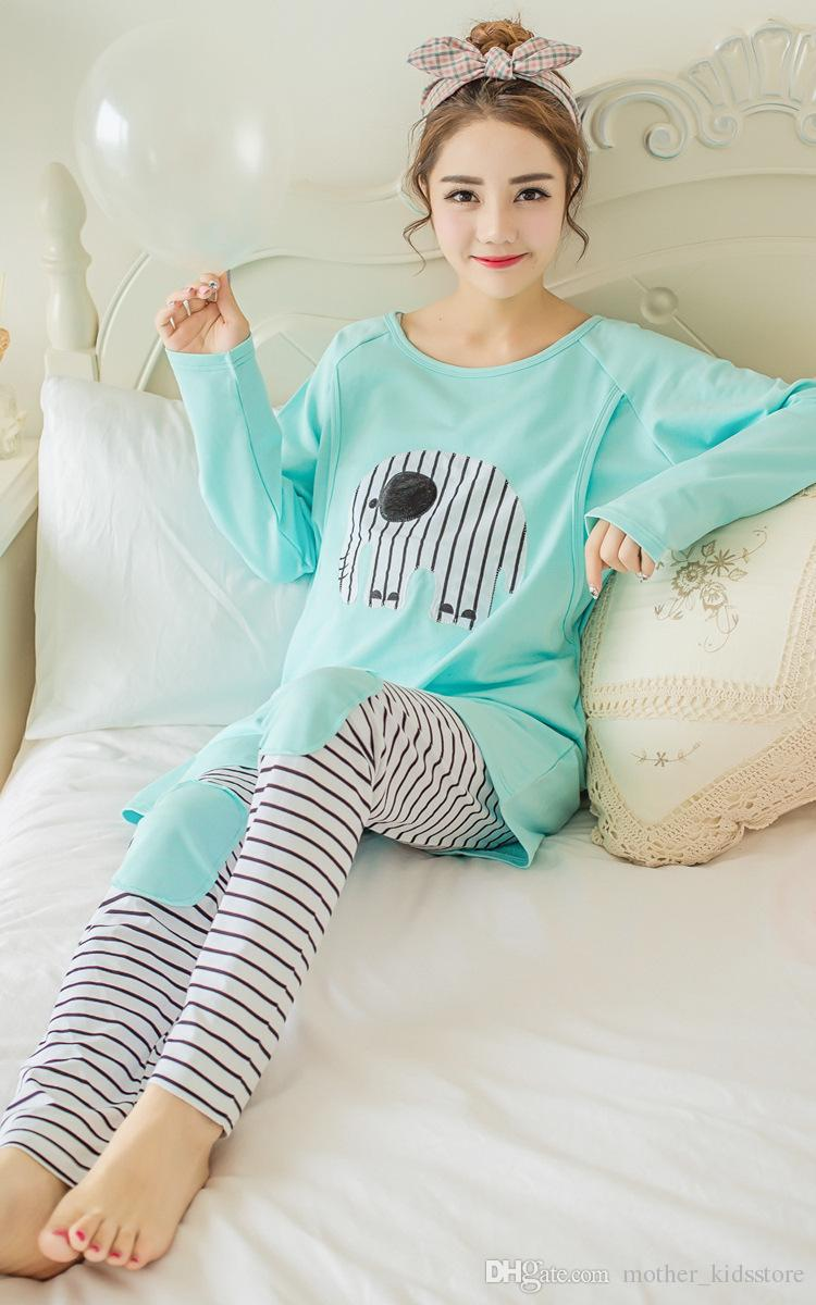 b3f615b0f3dd8 2019 Long Sleeve Maternity Nursing Pajama Sets Breastfeeding Pajamas Breast  Feeding Nightwear Cotton Pregnant Nursing Sleepwear Clothes From ...