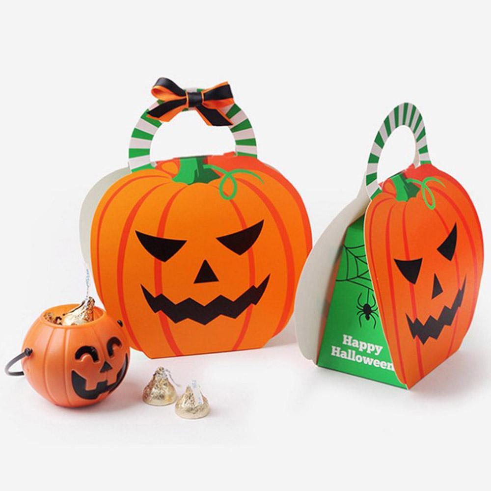 Zucche Di Halloween Cartoni Animati.20 Pz Lotto Halloween Cartone Animato Zucca Caramella Scatola Pieghevole Fantasma Scatole Chotolate Favore Di Carta Regalo Imballaggio Borse Z40